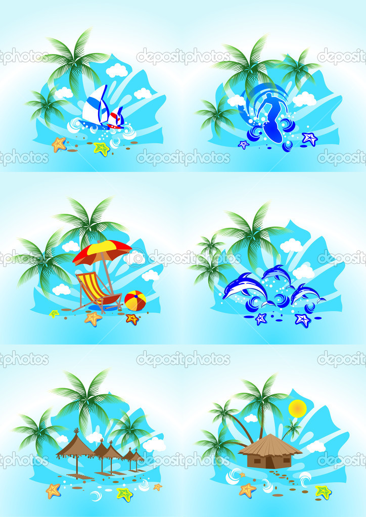 Tropical images with the sea surf