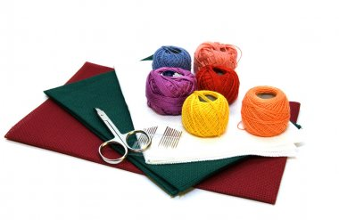 Fabric coloured with threads isolated