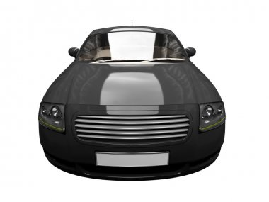 Isolated black sport car front view 03
