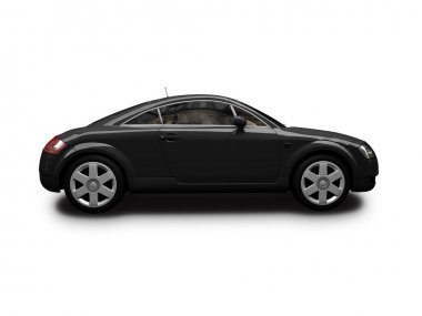 Isolated black sport car side view