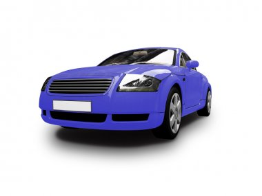 Isolated blue car front view