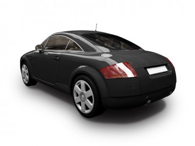 Isolated sport black car back view