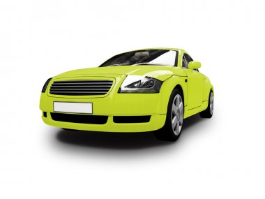 Isolated yellow car front view