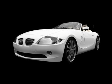 Isolated white car front view 01