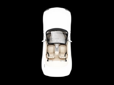 Isolated white car top view