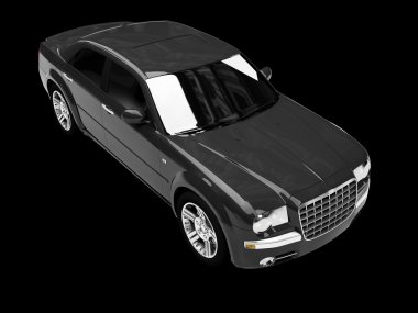 Isolated black car perspective view
