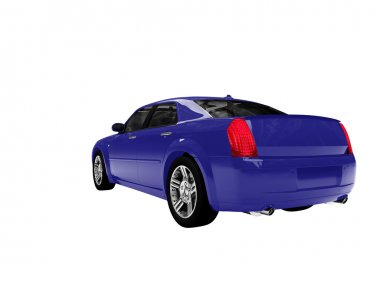Isolated blue car back view 01