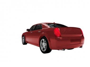 Isolated red car back view