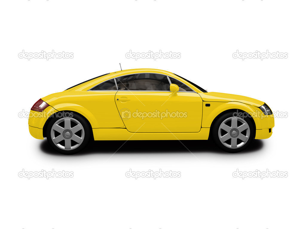 Isolated Yellow Car Side View Stock Editorial Photo