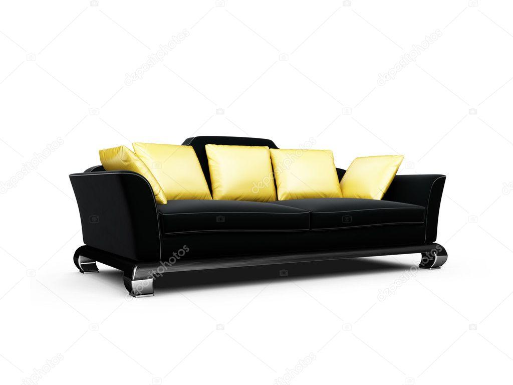 Schwarze Couch Mit Gold Kissen Weiss Stockfoto C Fckncg 1146482