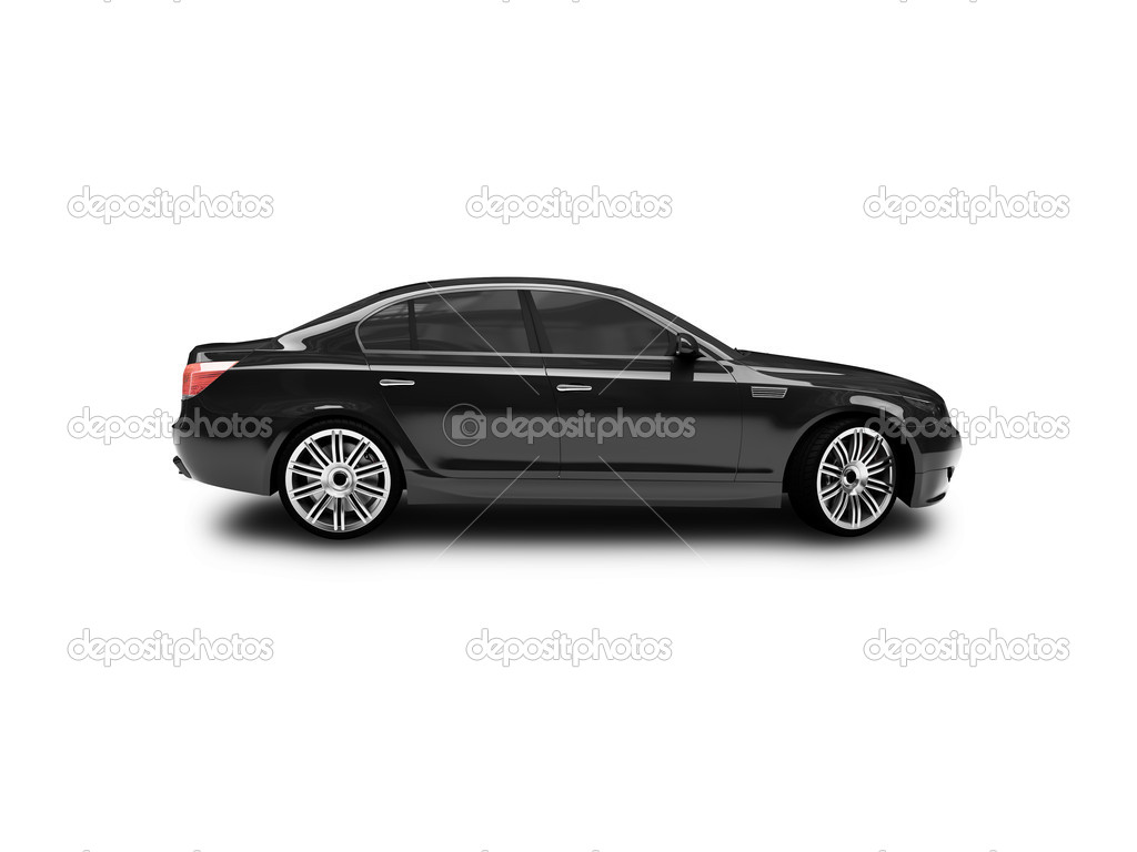 Isolated black car side view