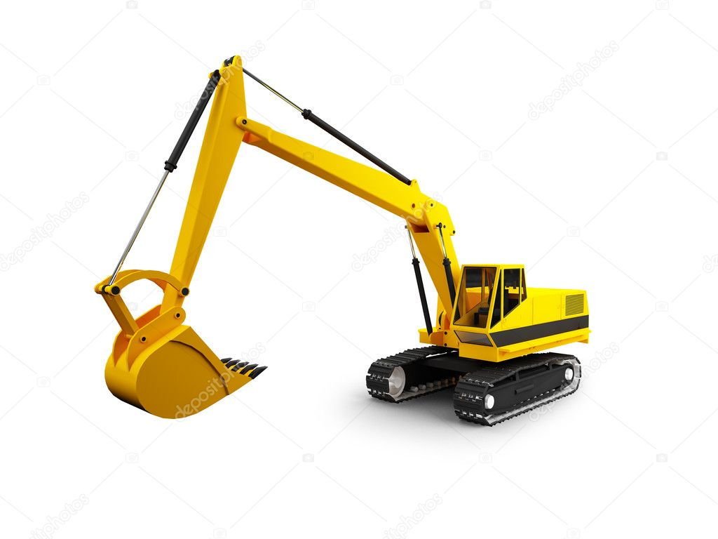 Isolated heavy machine on white background