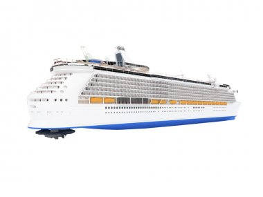 Cruise ship isolated back view