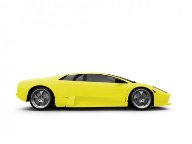 Ferrari isolated yellow side view