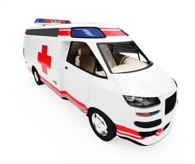 Future concept of ambulance truck isolat