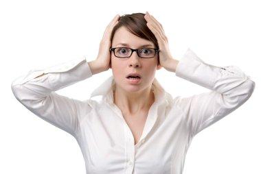 Young business woman panic
