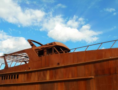 Rusty Boat on blue sky
