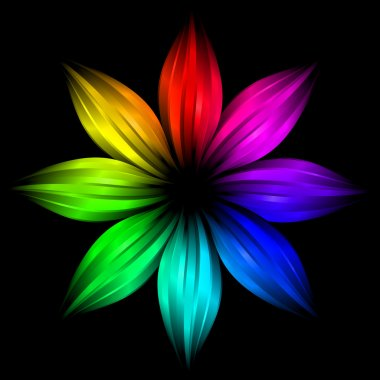 The Abstract rainbow flower on black background stock vector