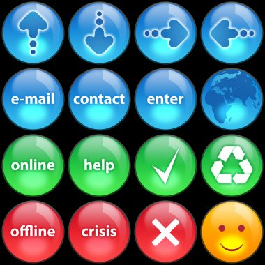 Green, blue and red buttons on black background stock vector
