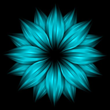 Abstract sky blue flower on black
