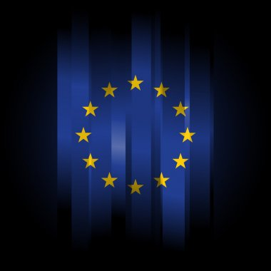 Abstract Europe Union Flag on black