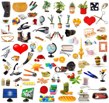 Big set of objects isolated on white stock vector
