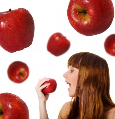 Cute women with red apples