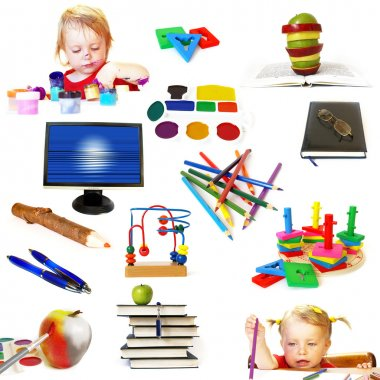 Group of education theme objects