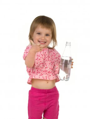 Little girl drink water from the bottle