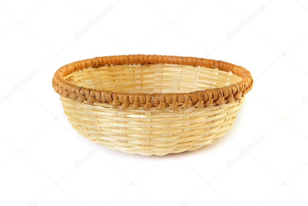 Woven basket on white