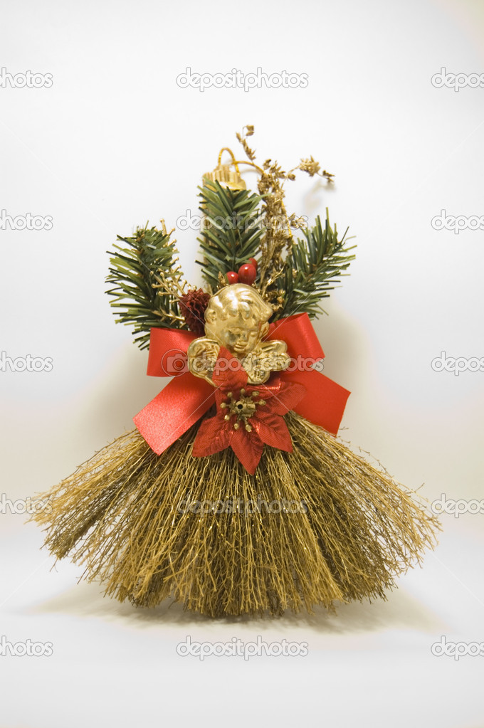 a christmas broom on white background photo by dzkarol - Christmas Broom Decoration