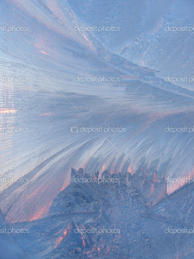 Frost and sunlight on glass