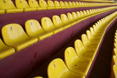 Yellow seats on stadium