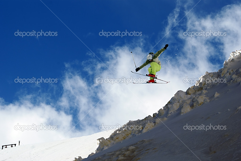 A skier jumps