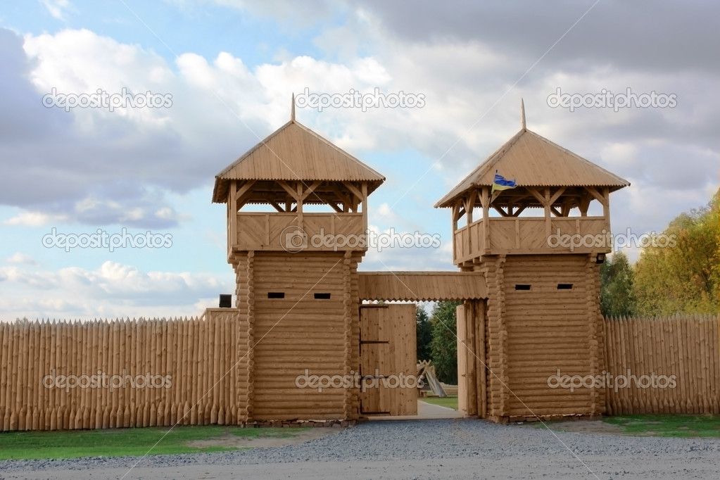Wooden gate. Fortification
