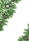 Fotografie Rahmen für Weihnachten mit Schnee und Kegeln