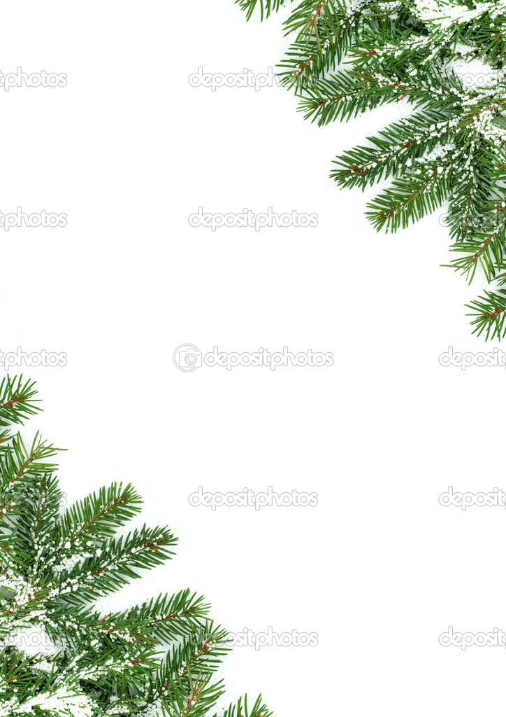 Christmas framework with snow isolated on white