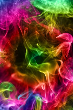 Multi-coloured smoke. Background.