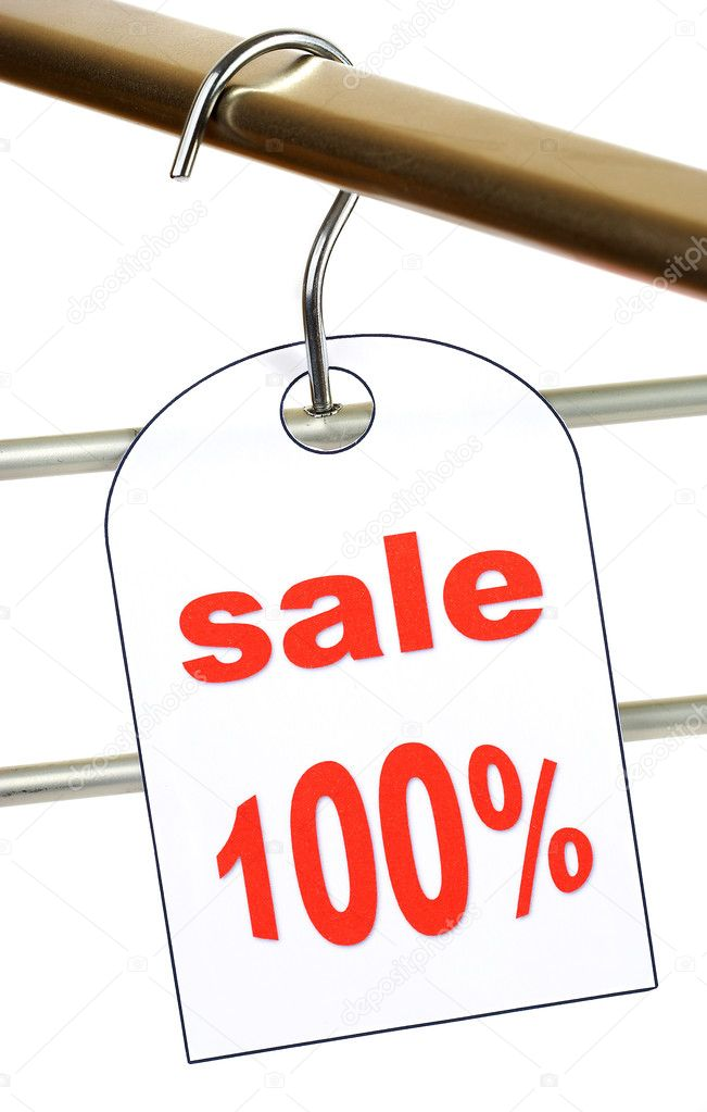 sale a hanger with labels on a white ba stock photo cookelma