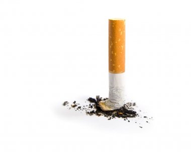 Cigarette butt isolated on white
