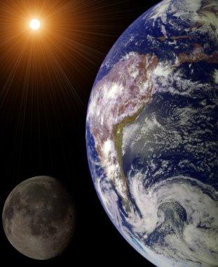 Sun, Earth and Moon illustration