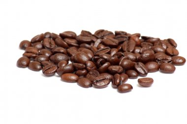 Coffee beans on a white .