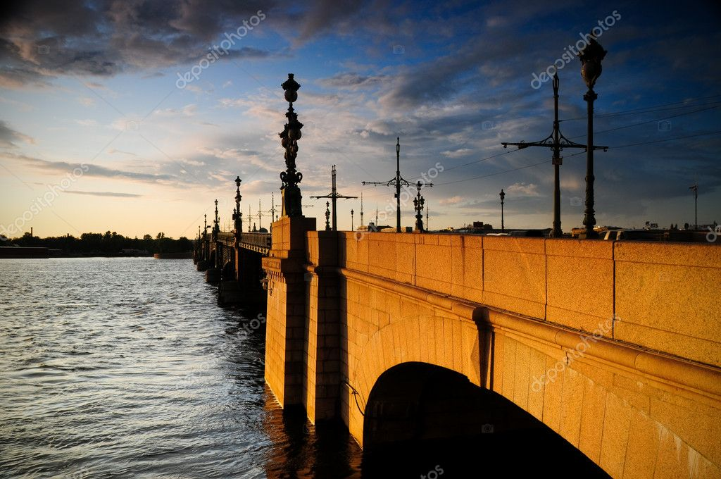 Old bridge across the river Neva