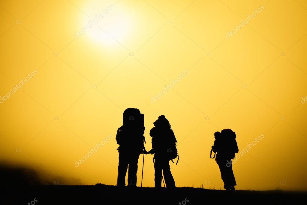 Travelers silhouette