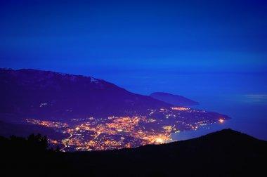 Evening mountain town