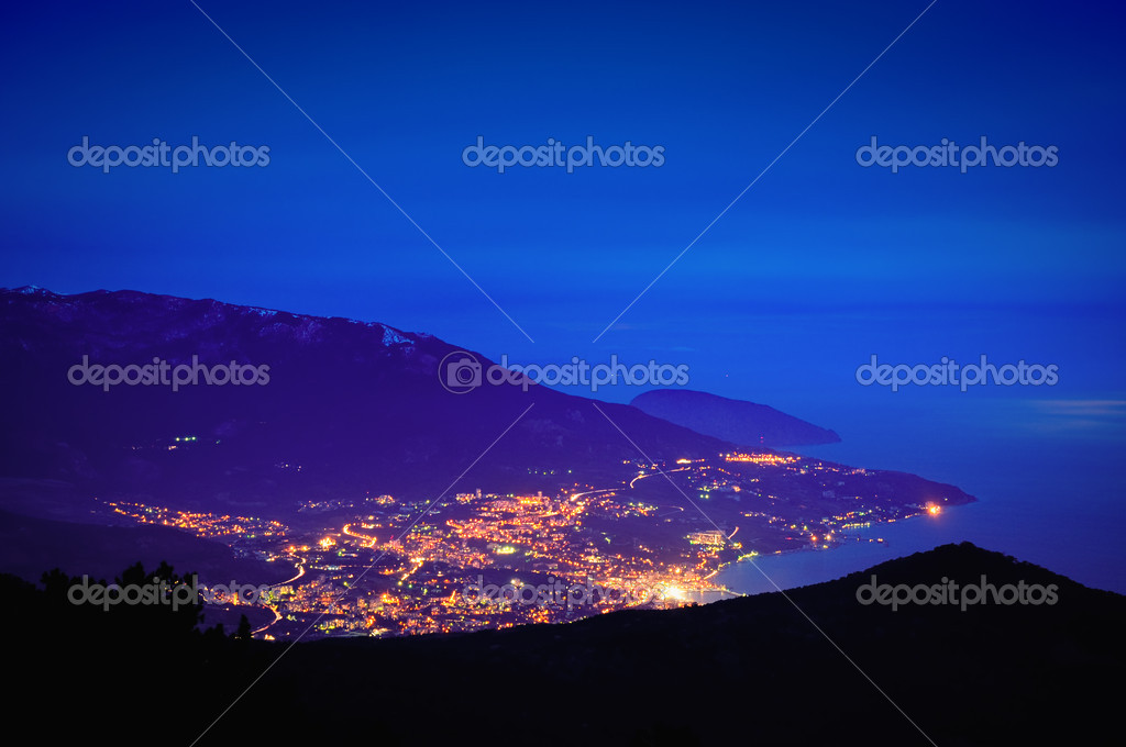 Evening mountain town