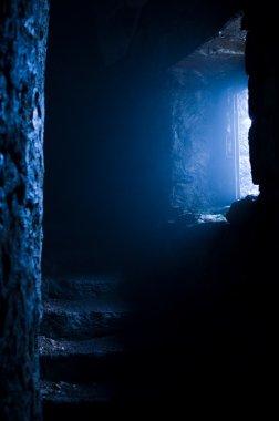 Fog sneaks into the castle