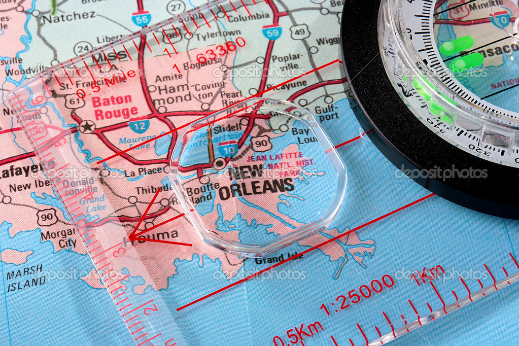 Map New Orleans Stock Photo VIPDesignUSA - Usa map with compass