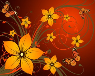 Floral abstraction with butterflies.