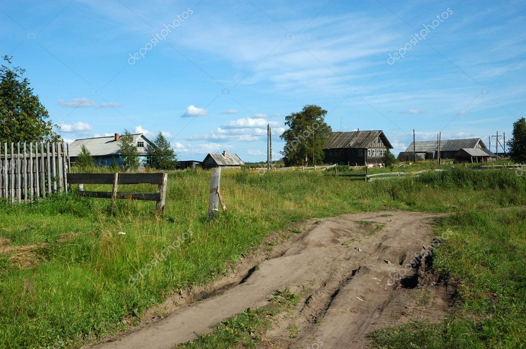 Ground road in northern russian village